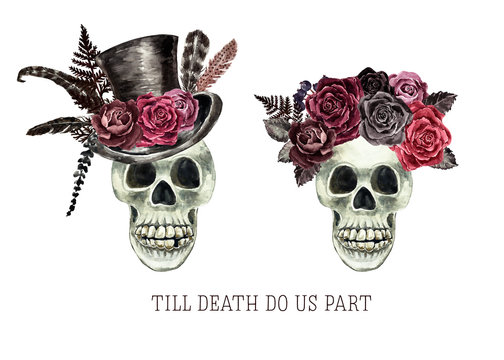 Watercolor skull of women and men in victorian gothic style. Bride and groom dead skeleton illustration, isolated on white background. For Valentines day cards, wedding invitation. Halloween concept.