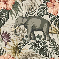 Tropical vintage animal elephant, hibiscus flower, strelitzia, palm leaves floral seamless pattern grey background. Exotic jungle wallpaper.