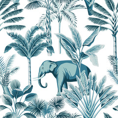 Tropical vintage blue elephant wild animals, palm tree, banana tree and plant floral seamless pattern white background. Exotic jungle safari wallpaper.