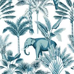 Animaux sauvages d& 39 éléphant bleu vintage tropical, palmier, bananier et plante motif floral sans soudure fond blanc. Fond d& 39 écran exotique de safari dans la jungle.