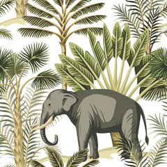 Tropical vintage elephant wild animal, palm tree and plant floral seamless pattern white background. Exotic jungle safari wallpaper.