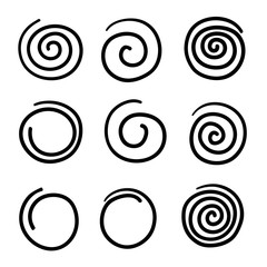 collection of doodle spiral illustration vector isolated
