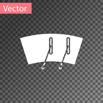 White Windscreen wiper icon isolated on transparent background. Vector Illustration