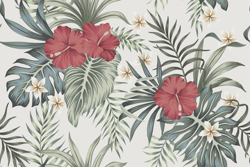 Tropical vintage faded flower hibiscus, plumeria floral green palm leaves seamless pattern grey background. Exotic jungle wallpaper.