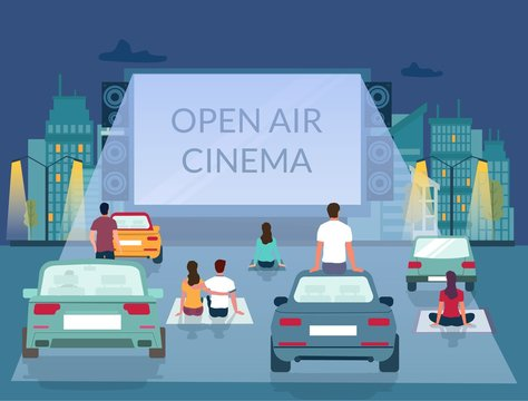 Open air cinema, vector poster design template