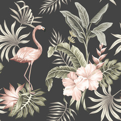 Hawaiian vintage botanical floral palm leaves, hibiscus flower, strelitzia, flamingo bird summer floral seamless pattern black background.Exotic jungle night wallpaper.