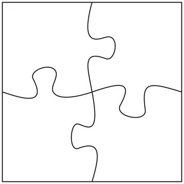 Four jigsaw pieces template. 4 puzzle pieces connected together.