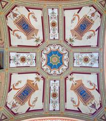 CERNOBBIO, ITALY - MAY 12, 2019: The fresco over the external entry of church Chiesetta della Madonna delle Grazie.