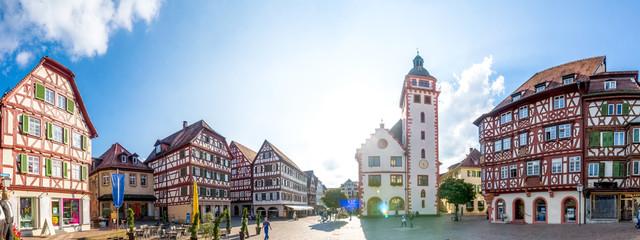 Fototapete - Marktplatz und Rathaus, Mosbach, Deutschland