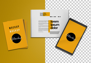 Ebook and Open and Closed Books Mockup