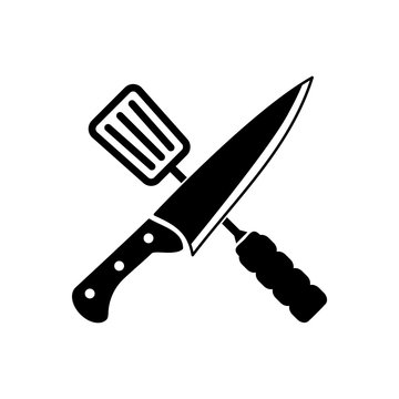 cooking knife icon vector logo