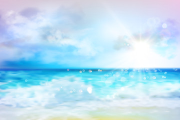 Sky with clouds over the ocean. Empty sandy beach in summer. Waves on the seashore. Sunrise. Abstract vector illustration.