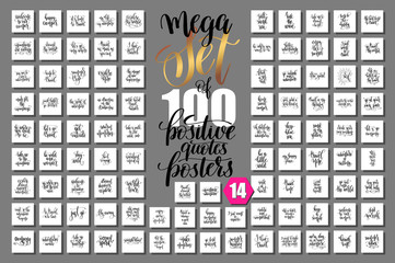 Poster Positive Typography Mega set of 100 travel hand lettering inscription, journey positive quotes design