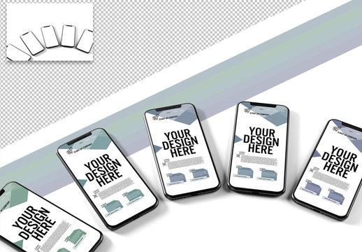 Mockup of Several Smartphones