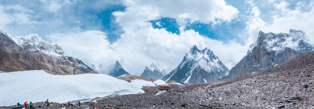 Panoramic view of Baltoro Glacier from Goro II to Concordia Camp with Ice Formation, Mitre Peak and Gasherbrum, Pakistan