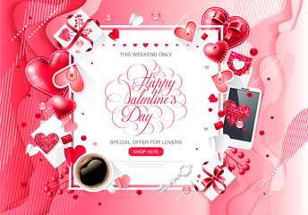 Valentine day love cup coffee lettering web brochure flyer for advertising sale party design element wooden background