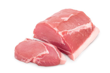 Raw pork meat isolated on white background Wall mural