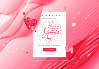 Valentine day love lettering web brochure flyer for advertising sale party design element wooden background