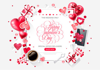 Valentine day love cup coffee isolated lettering web brochure flyer for advertising sale party design element white background