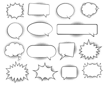 Retro empty comic bubbles and elements set with black halftone shadows. in retro vintage and pop art style. Vector illustration,