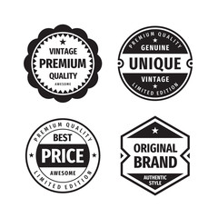 Business badges vector set in retro vintage design style. Abstract logo. Premium quality. Best price. Original brand. Genuine unigue vintage. Concept labels in black & white colors.