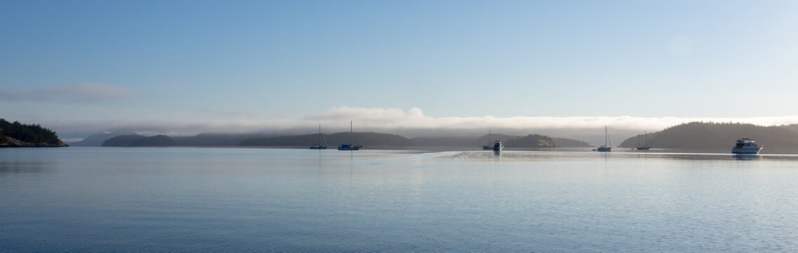 Pacific NW Puget Sound: Foggy morning at Hunter Bay anchorage on Lopez Island
