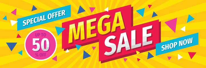 Mega sale concept horizontal banner template design. Discount abstract promotion layout poster. Mega sale vector illustration.  Wall mural