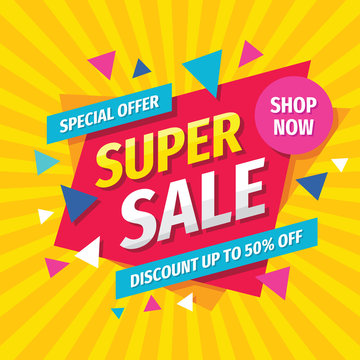 Super sale concept banner template design. Discount abstract promotion layout poster. Super sale vector illustration.