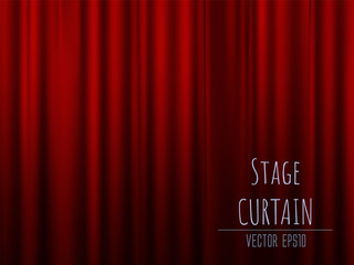 Dark empty stage with rich red velvet curtain. 3d photo realistic vector illsuatrtion