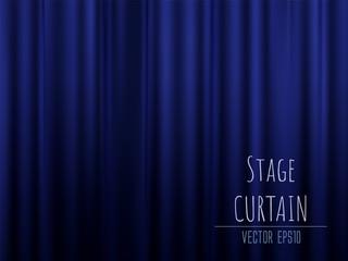 Dark empty stage with rich blue velvet curtain. 3d photo realistic vector illsuatrtion