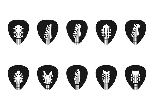 guitar pick logo with guitar headstock, vector icon Illustration