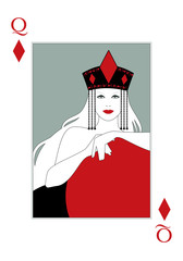 Queen of Diamonds with a crown with the diamond symbol in the center. Poker card