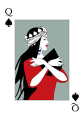 Queen of Spades wearing a crown surrounded by leaves, hugging a spade. Poker card