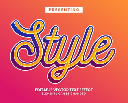 Vibrant color script font editable text effect