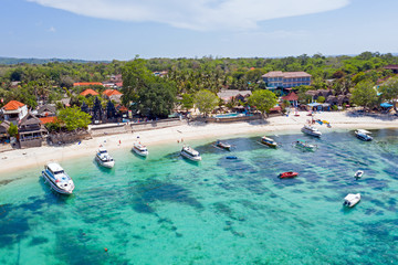 Aerial from Mushroom harbor on Nusa Lembongan Bali Indonesia