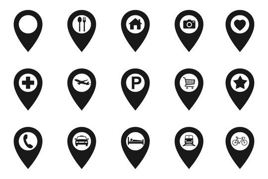 Set pointers, parking, restaurants, hospitals, supermarkets, telephones, stars, terminals, hotels, stations, bicycles, heart, camera house, airplane. Location icon map pin pointer. Navigation pointer