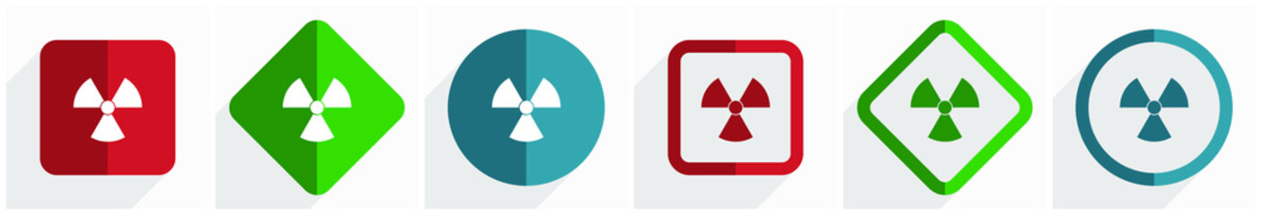 Radiation icon set, flat design vector illustration in 6 options for webdesign and mobile applications in eps 10