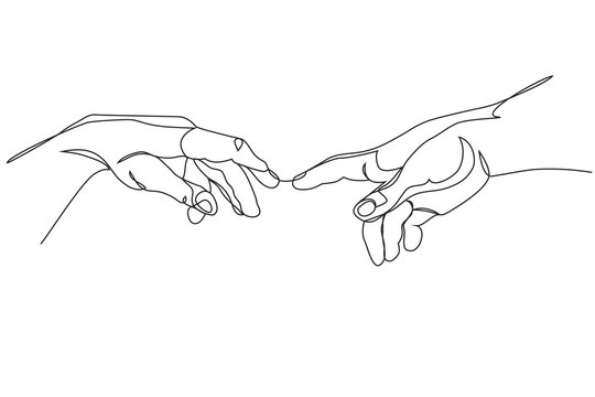 Adam and God hands one line drawing on white isolated background
