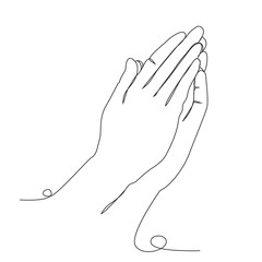 Fototapeta Hands folded in prayer one line drawing on white isolated background obraz