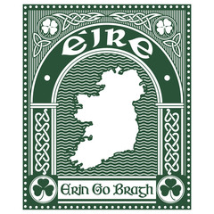 Irish Celtic design in vintage, retro style, Celtic-style clover, map of ireland and slogan Erin Go Bragh, illustration on the theme of St. Patricks day celebration