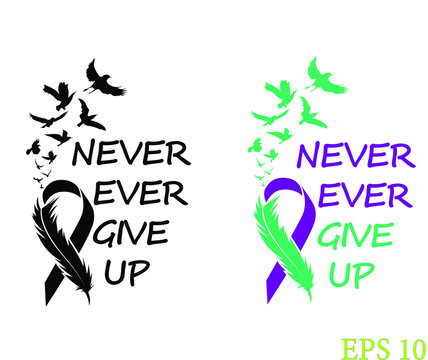 Suicide  Ribbon, Feather and Birds, Awareness ribbon, EPS 10