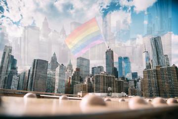 USA, New York, New York City, Manhattan skyline with rainbow flag
