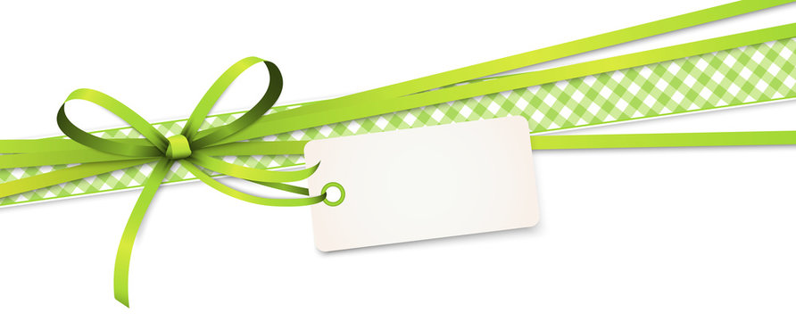 green colored ribbon bow with hang tag