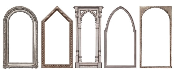 Set of silver gothic frames for paintings, mirrors or photo isolated on white background