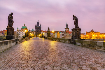 Foto op Plexiglas Historisch mon. Czech Republic, Prague, Illuminated Charles Bridge at dawn
