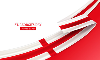 Obraz Happy St George Day, April 23rd, England national day, bent waving ribbon in colors of the England national flag. Celebration background. - fototapety do salonu
