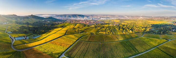 Germany, Baden-Wurttemberg, Stuttgart, Aerial panorama of vast countryside vineyards in autumn