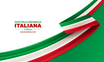 Obraz Italian republic day, 2th June, festa della repubblica Italiana, bent waving ribbon in colors of the Italian national flag. Celebration background. - fototapety do salonu