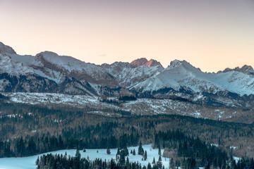 Fototapeta Views on Tatra Mountain in winter scenery from Bukowina Tatrzanska.