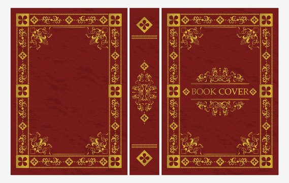 Red and gold ornament of classical book cover vector flat illustration. Decorative vintage frame or border for printing on royal retro style covers of books isolated on white background